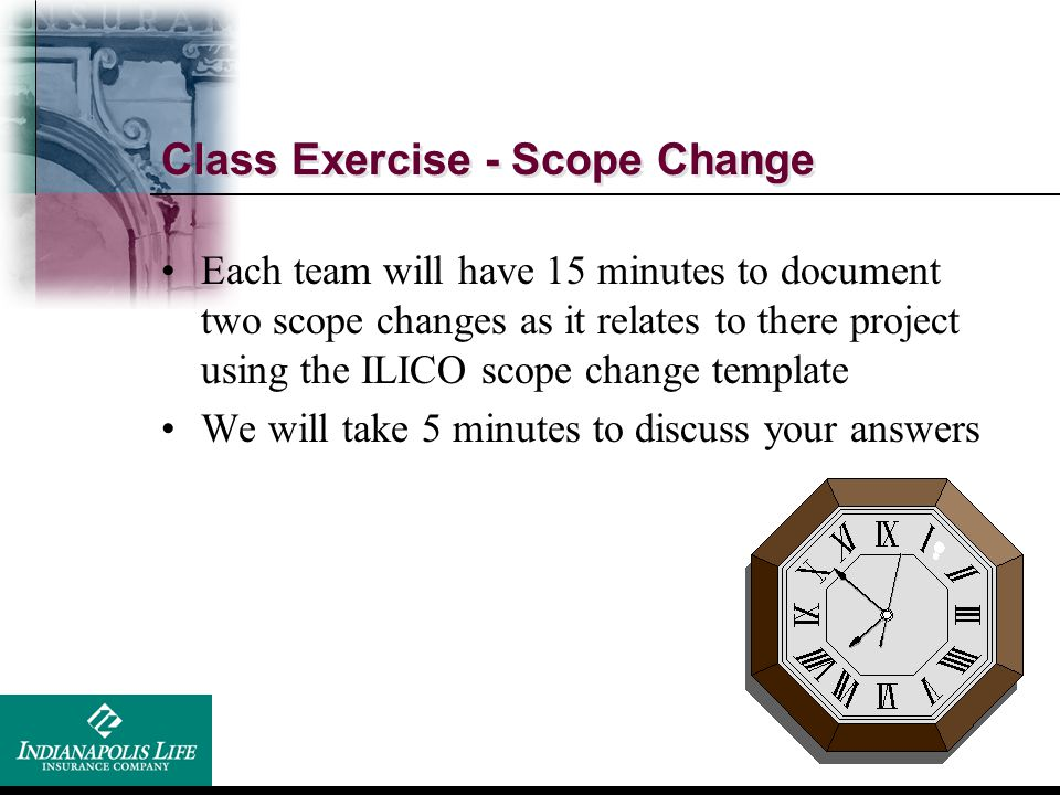 Class Exercise - Scope Change