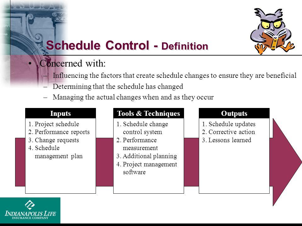 Schedule Control - Definition