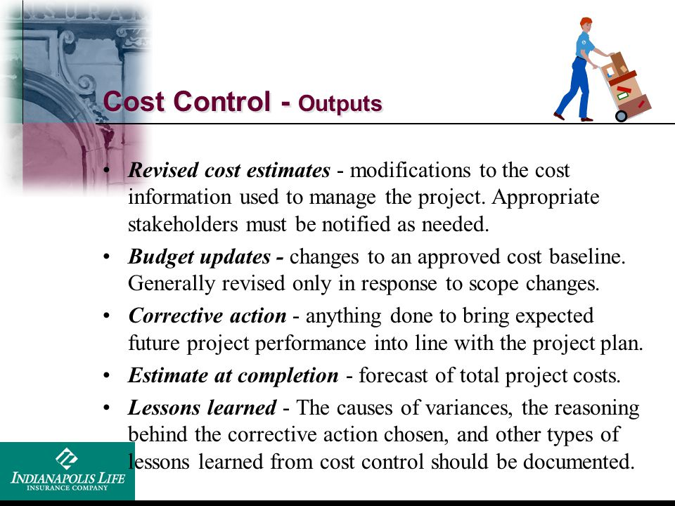 Cost Control - Outputs