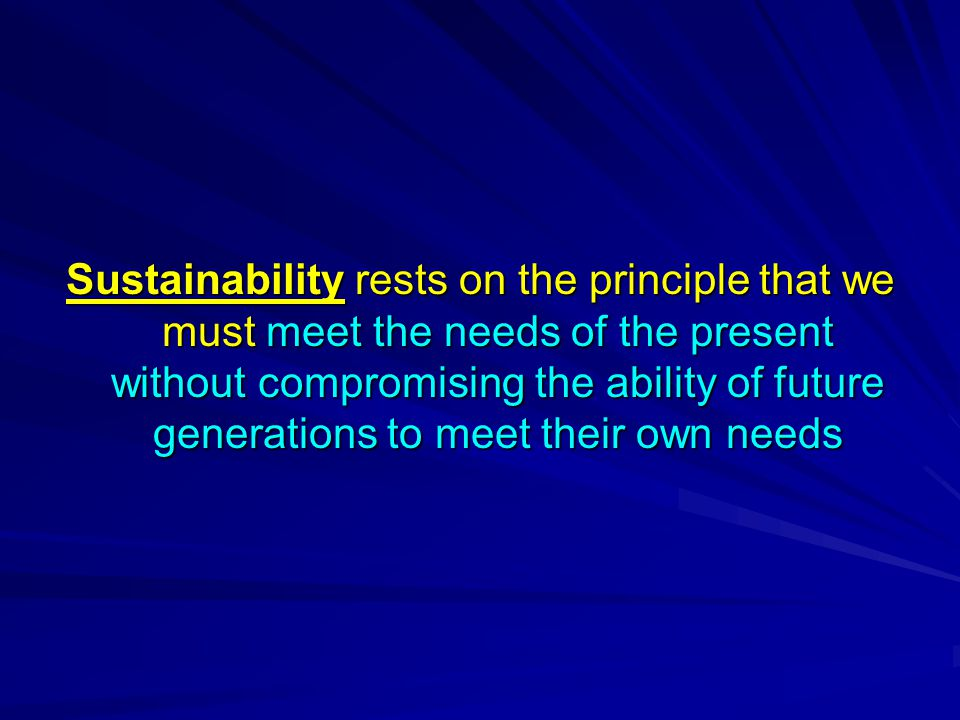 Sustainability rests on the principle that we must meet the needs of the present without compromising the ability of future generations to meet their own needs