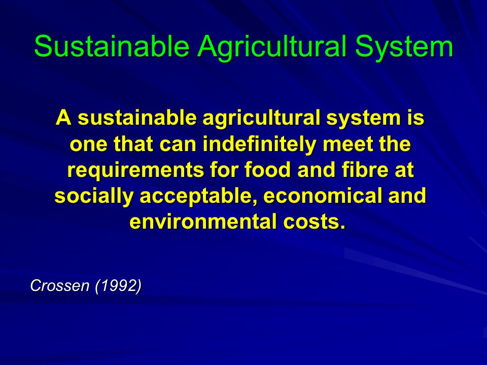 Sustainable Agricultural System