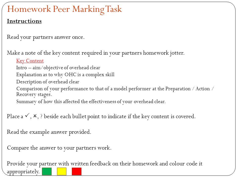 Homework Peer Marking Task