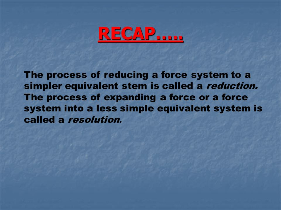 RECAP…..