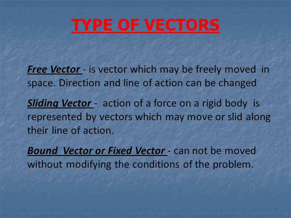 TYPE OF VECTORS Free Vector - is vector which may be freely moved in space. Direction and line of action can be changed.