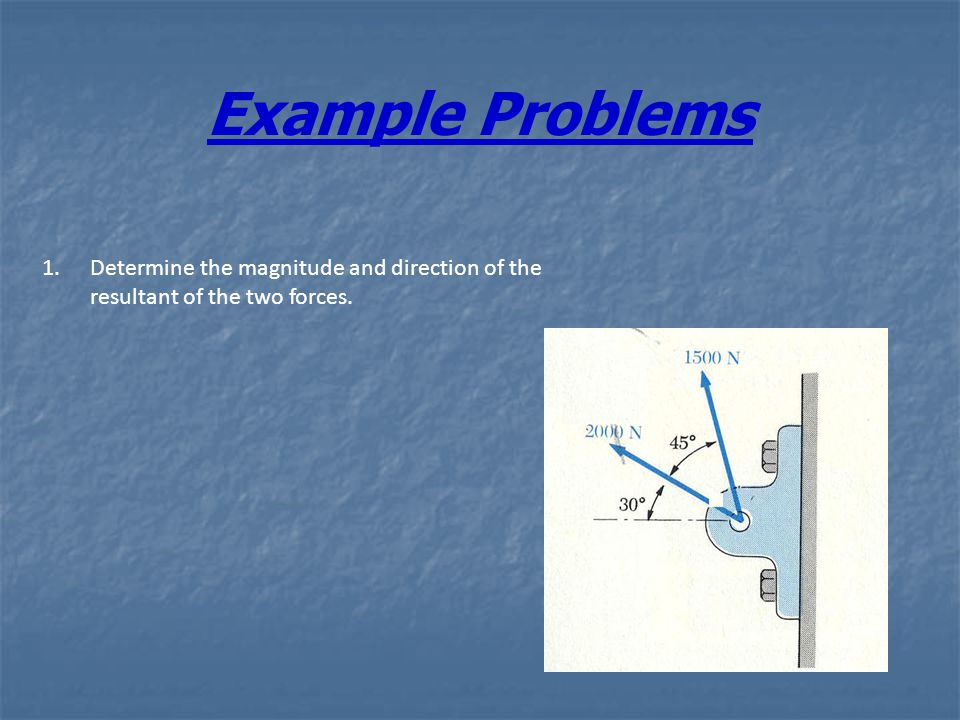 Example Problems Determine the magnitude and direction of the resultant of the two forces.