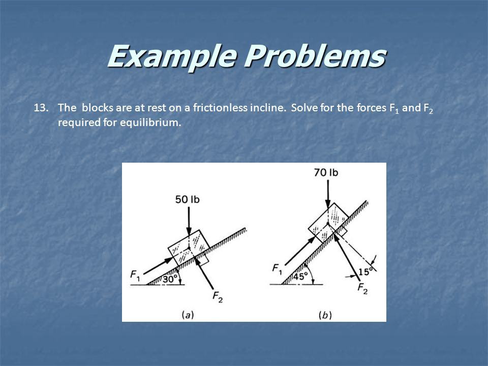 Example Problems The blocks are at rest on a frictionless incline.