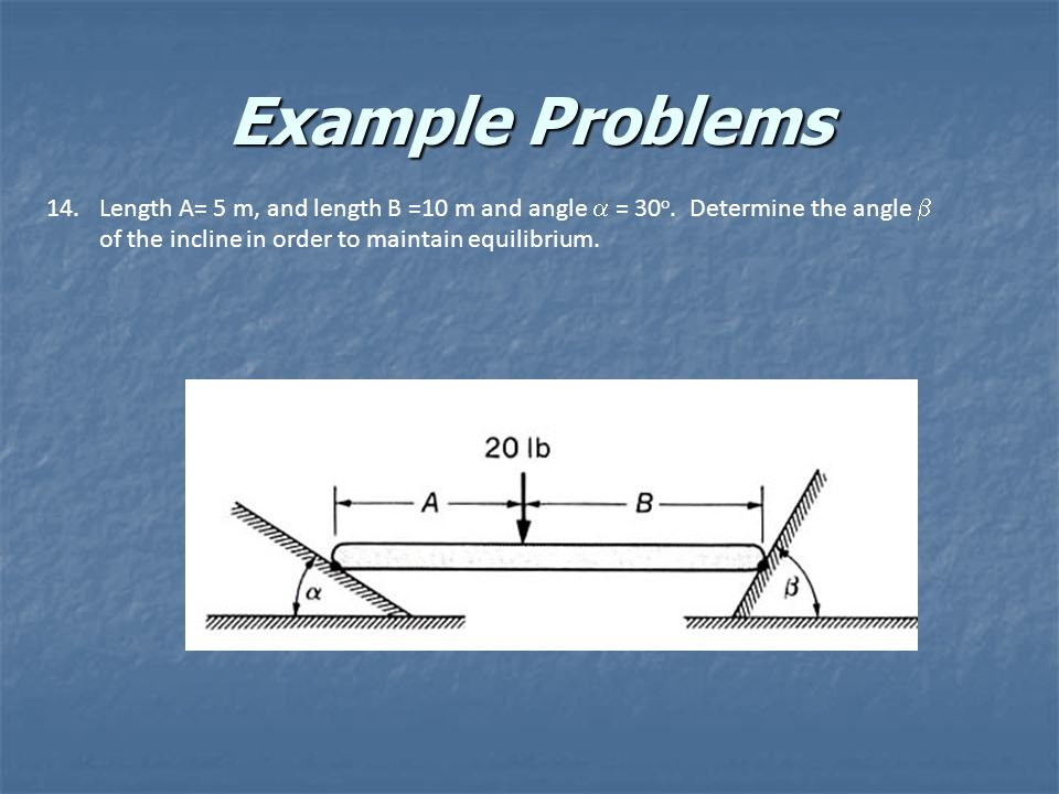 Example Problems Length A= 5 m, and length B =10 m and angle a = 30o.