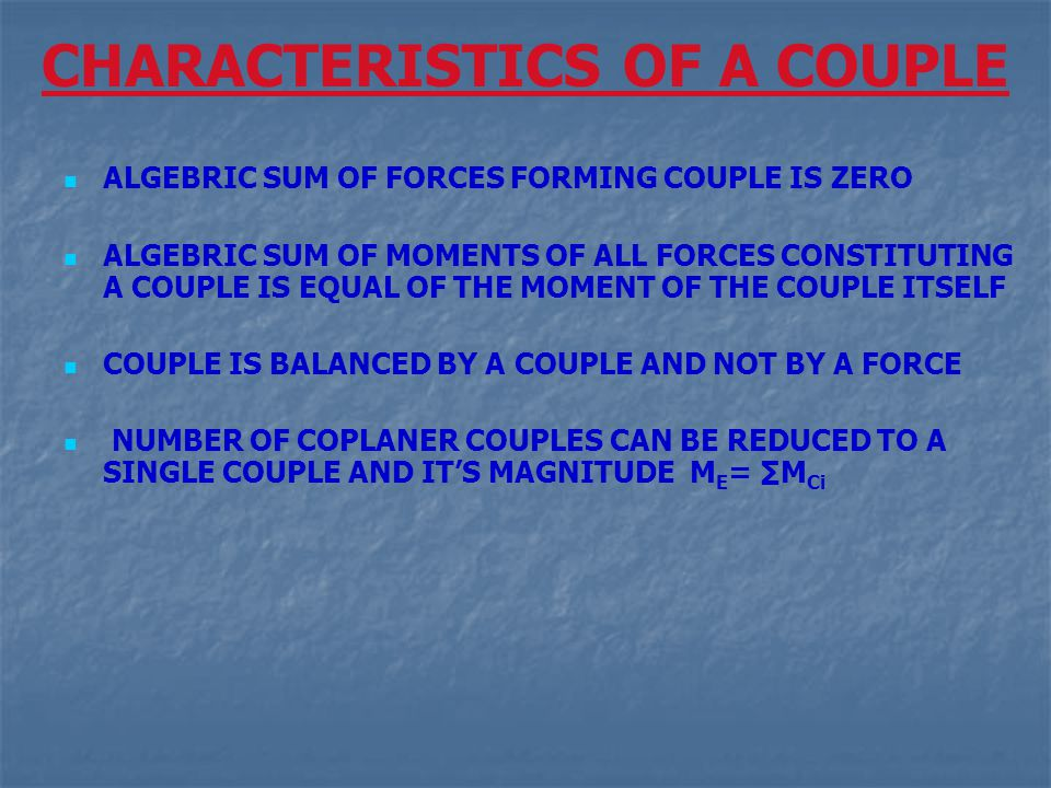 CHARACTERISTICS OF A COUPLE