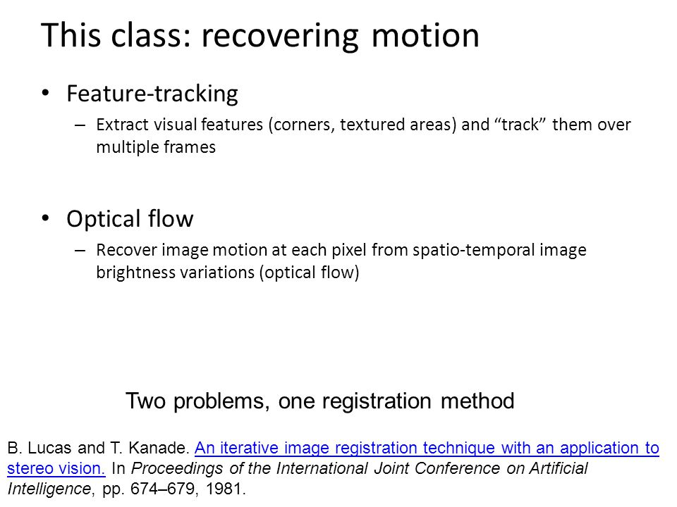 This class: recovering motion