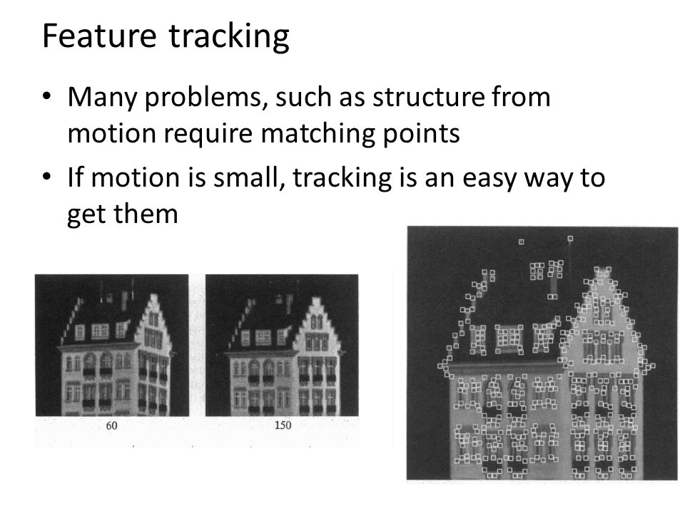 Feature tracking Many problems, such as structure from motion require matching points.