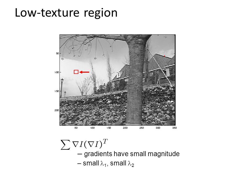 Low-texture region gradients have small magnitude small l1, small l2
