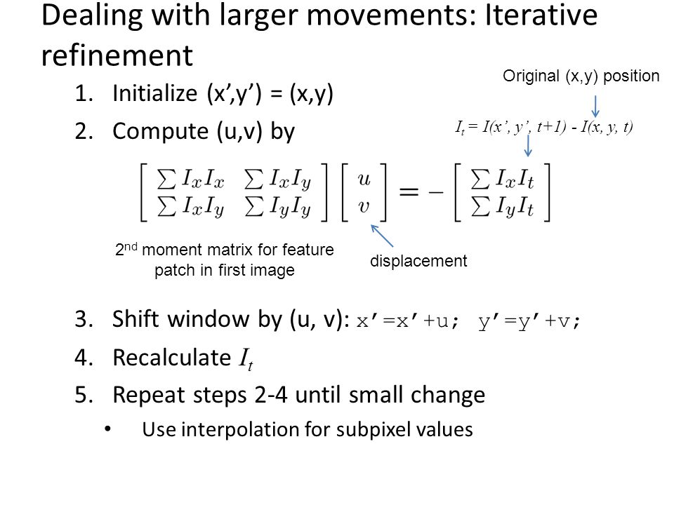 Dealing with larger movements: Iterative refinement