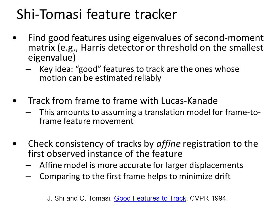 Shi-Tomasi feature tracker