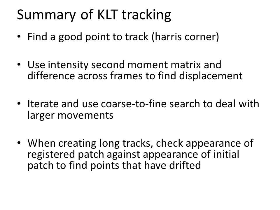Summary of KLT tracking