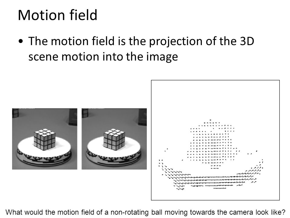 Motion field The motion field is the projection of the 3D scene motion into the image.