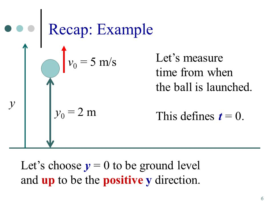 Recap: Example Let's measure v0 = 5 m/s time from when
