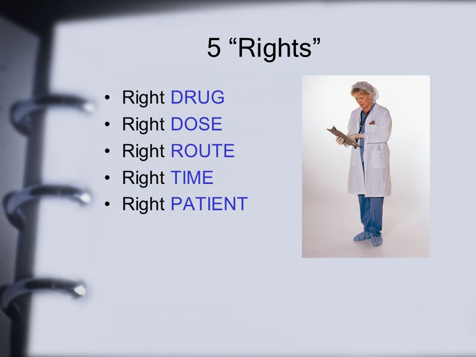 5 Rights Right DRUG Right DOSE Right ROUTE Right TIME Right PATIENT