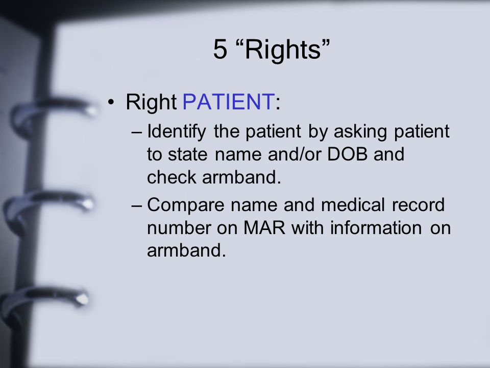 5 Rights Right PATIENT: