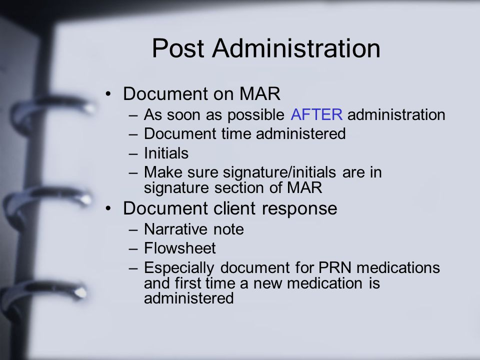 Post Administration Document on MAR Document client response