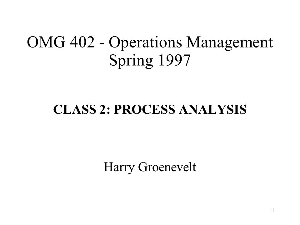 OMG 402 - Operations Management Spring 1997