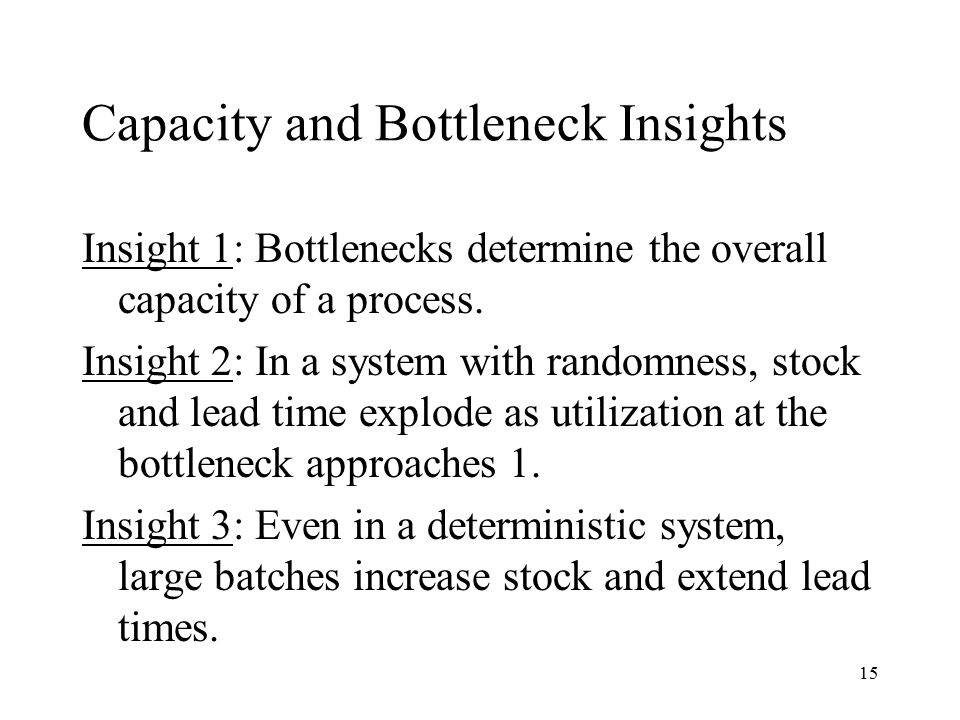 Capacity and Bottleneck Insights