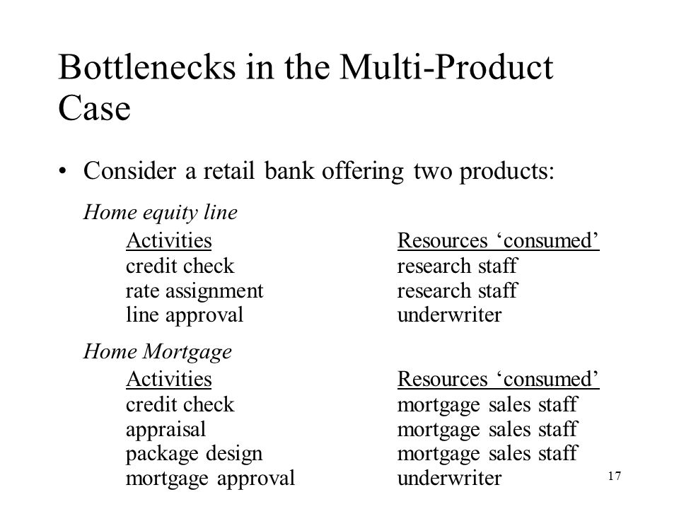 Bottlenecks in the Multi-Product Case