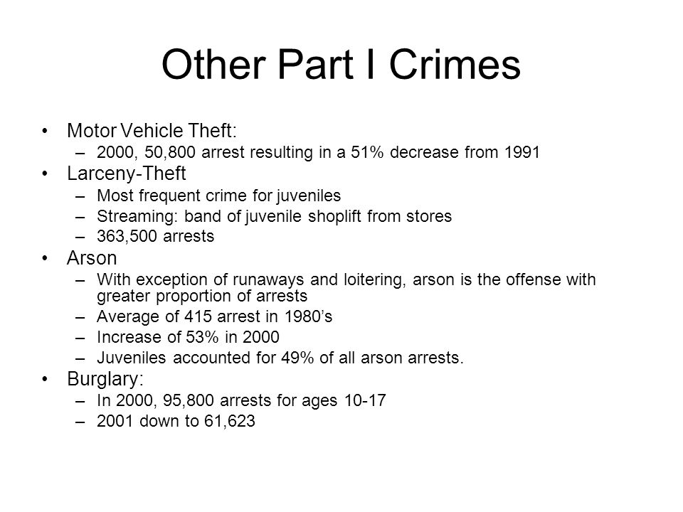 Other Part I Crimes Motor Vehicle Theft: Larceny-Theft Arson Burglary: