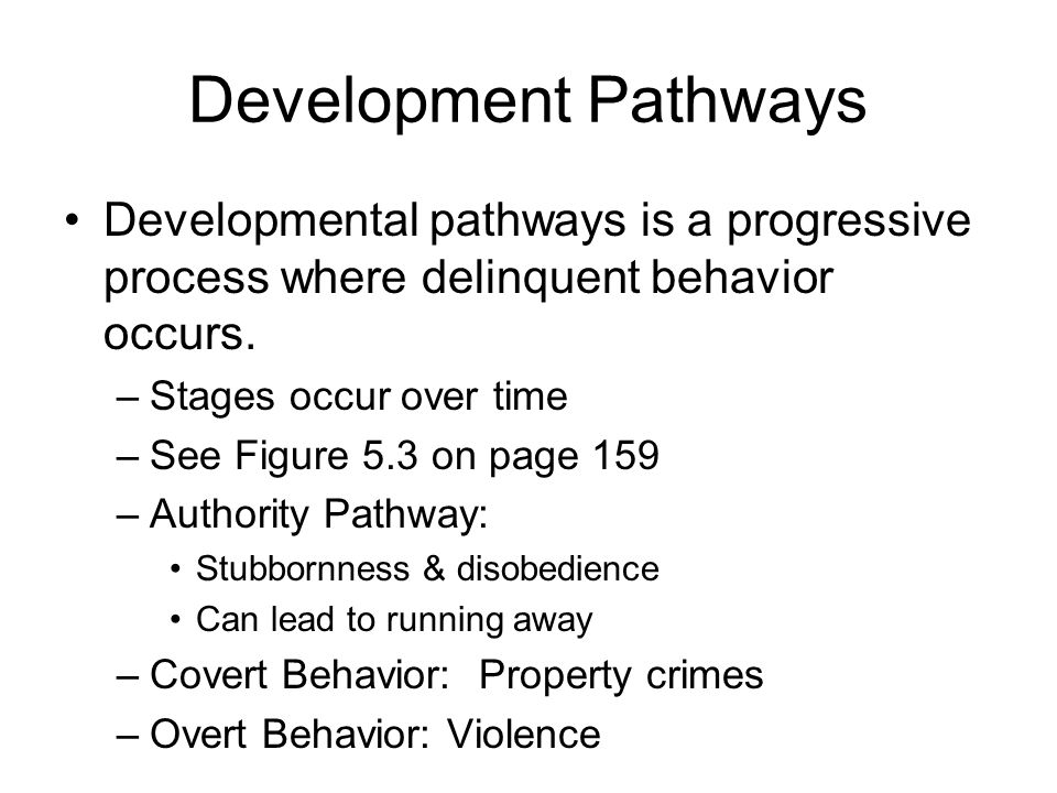 Development Pathways Developmental pathways is a progressive process where delinquent behavior occurs.