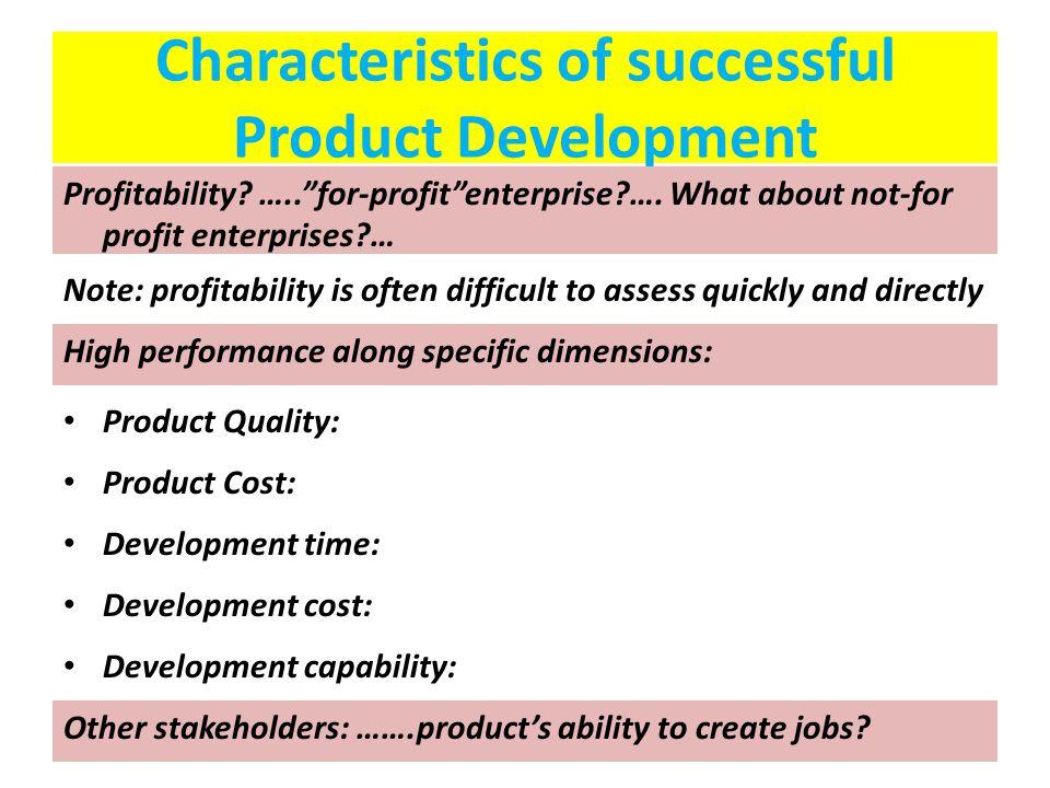 Characteristics of successful Product Development