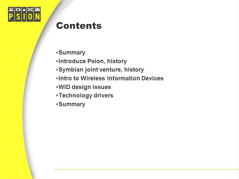 Contents Summary Introduce Psion, history
