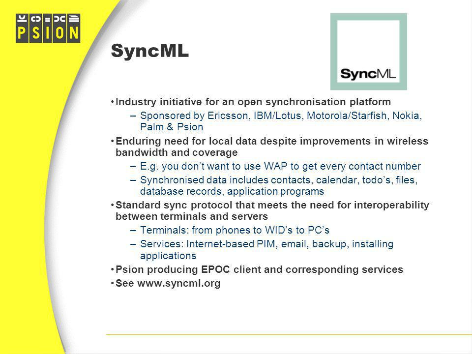 SyncML Industry initiative for an open synchronisation platform