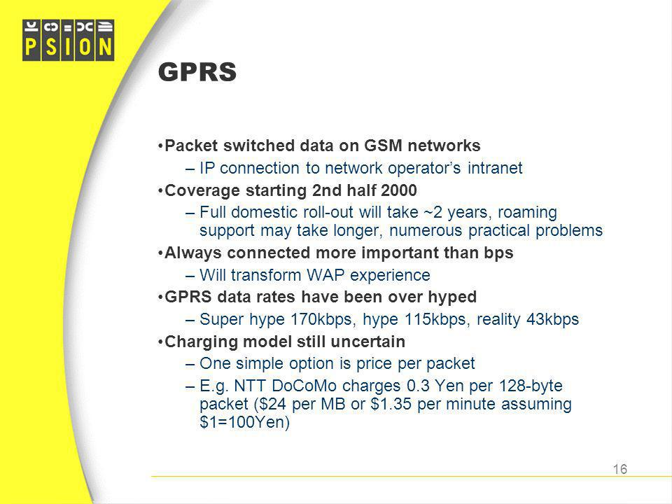 GPRS Packet switched data on GSM networks