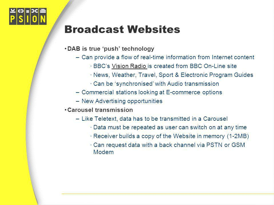 Broadcast Websites DAB is true 'push' technology