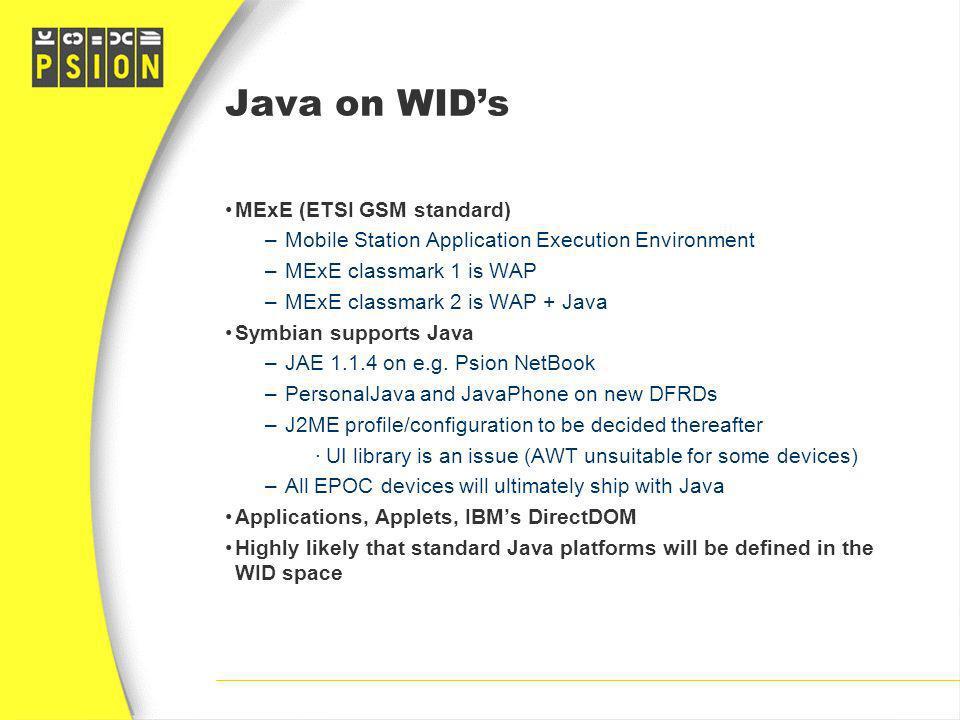 Java on WID's MExE (ETSI GSM standard)