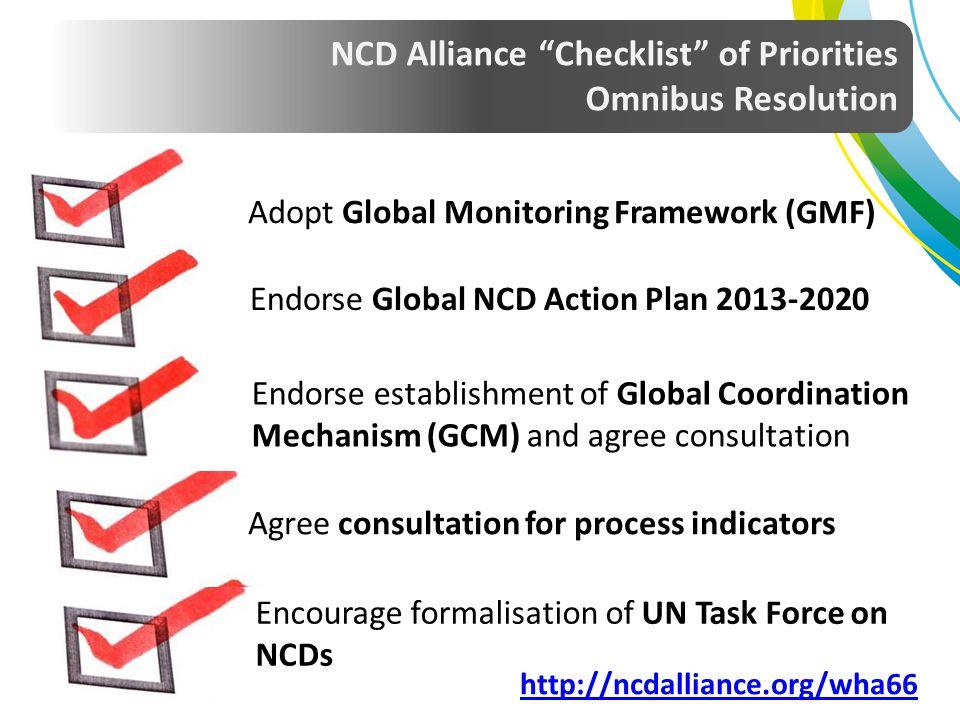 NCD Alliance Checklist of Priorities Omnibus Resolution