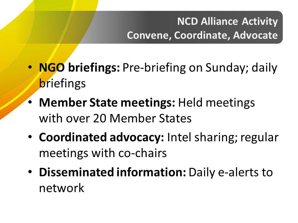 NGO briefings: Pre-briefing on Sunday; daily briefings