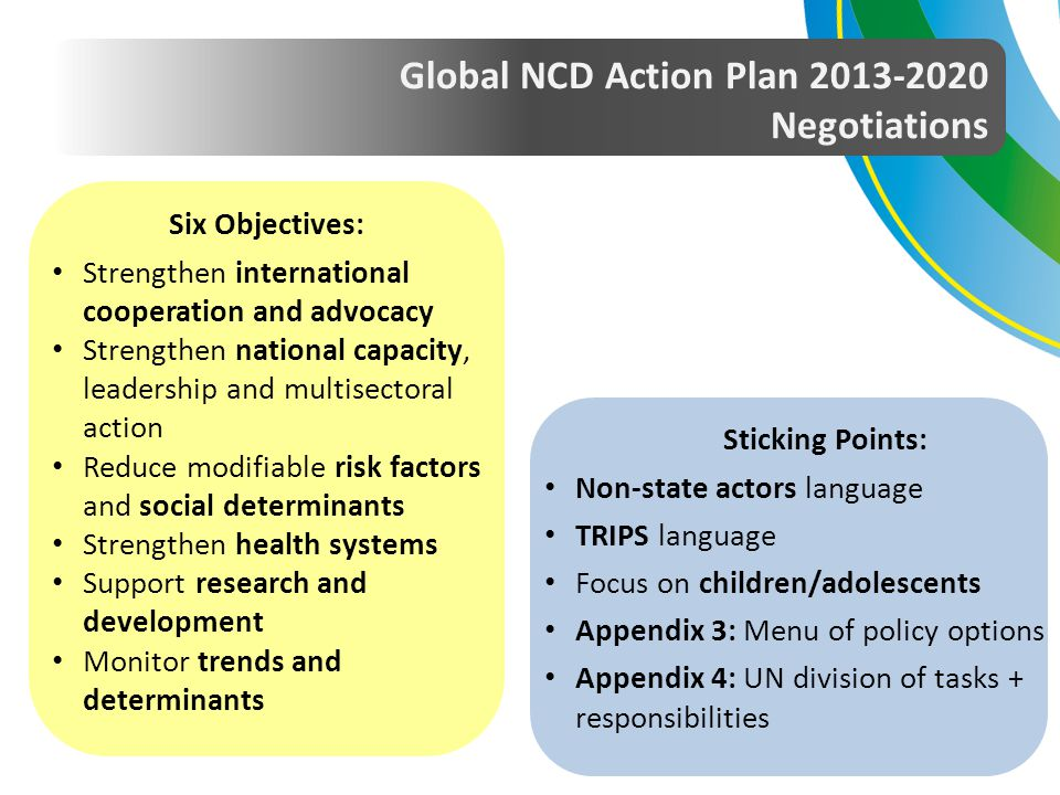 Global NCD Action Plan 2013-2020 Negotiations