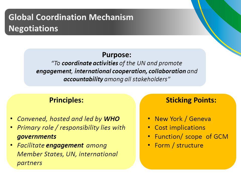 Global Coordination Mechanism Negotiations