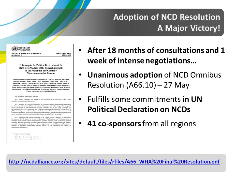 Adoption of NCD Resolution A Major Victory!