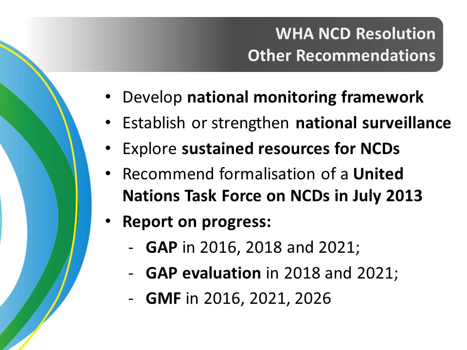 WHA NCD Resolution Other Recommendations. Develop national monitoring framework. Establish or strengthen national surveillance.