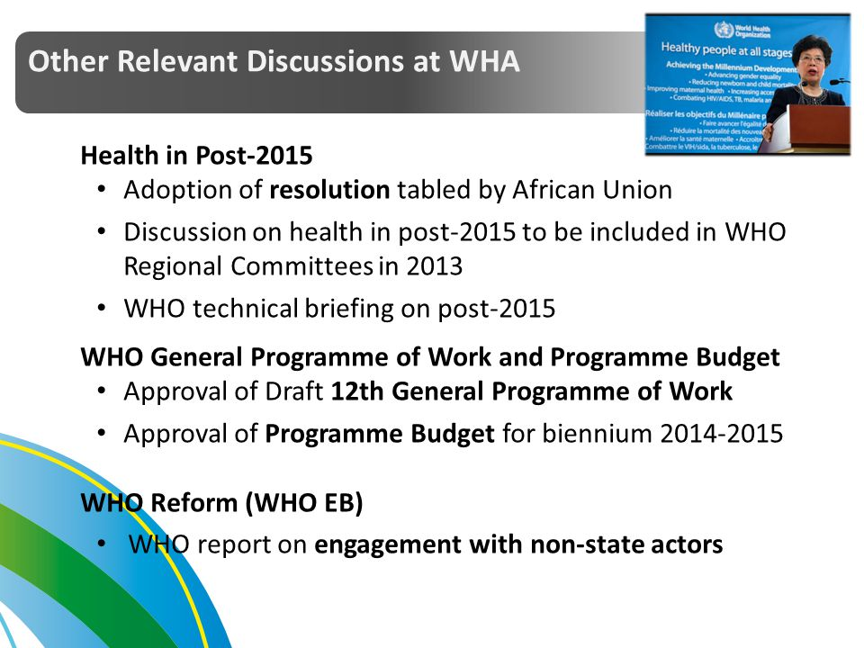 Other Relevant Discussions at WHA