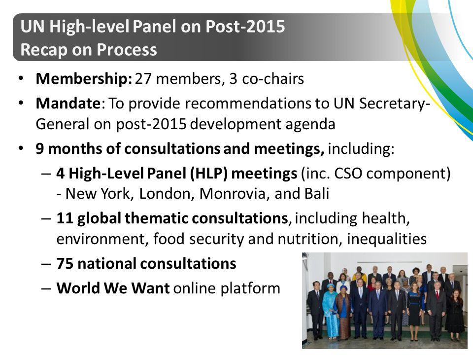 UN High-level Panel on Post-2015 Recap on Process