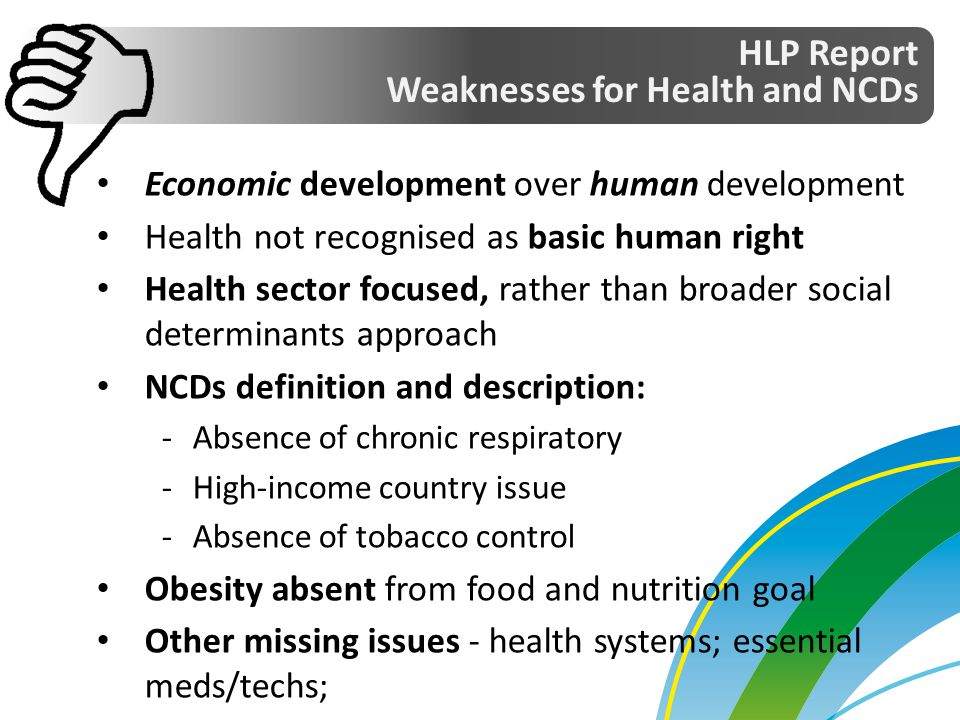 Weaknesses for Health and NCDs