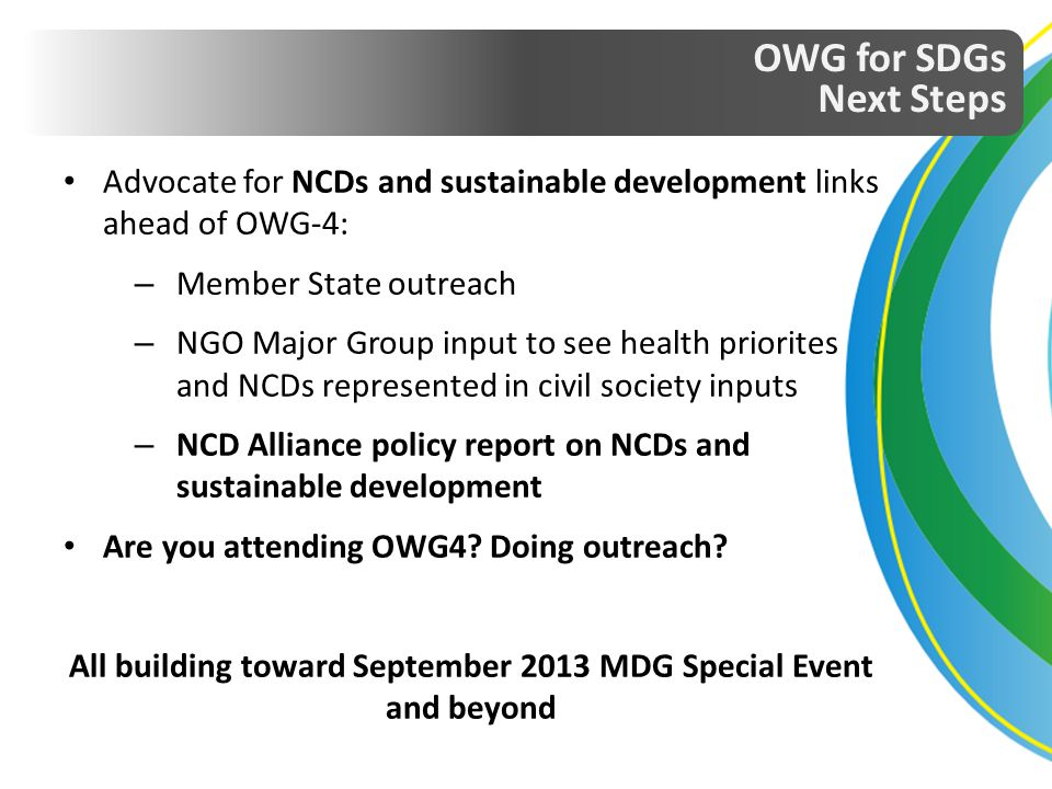 All building toward September 2013 MDG Special Event and beyond