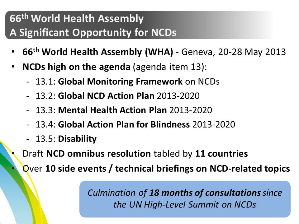 66th World Health Assembly A Significant Opportunity for NCDs