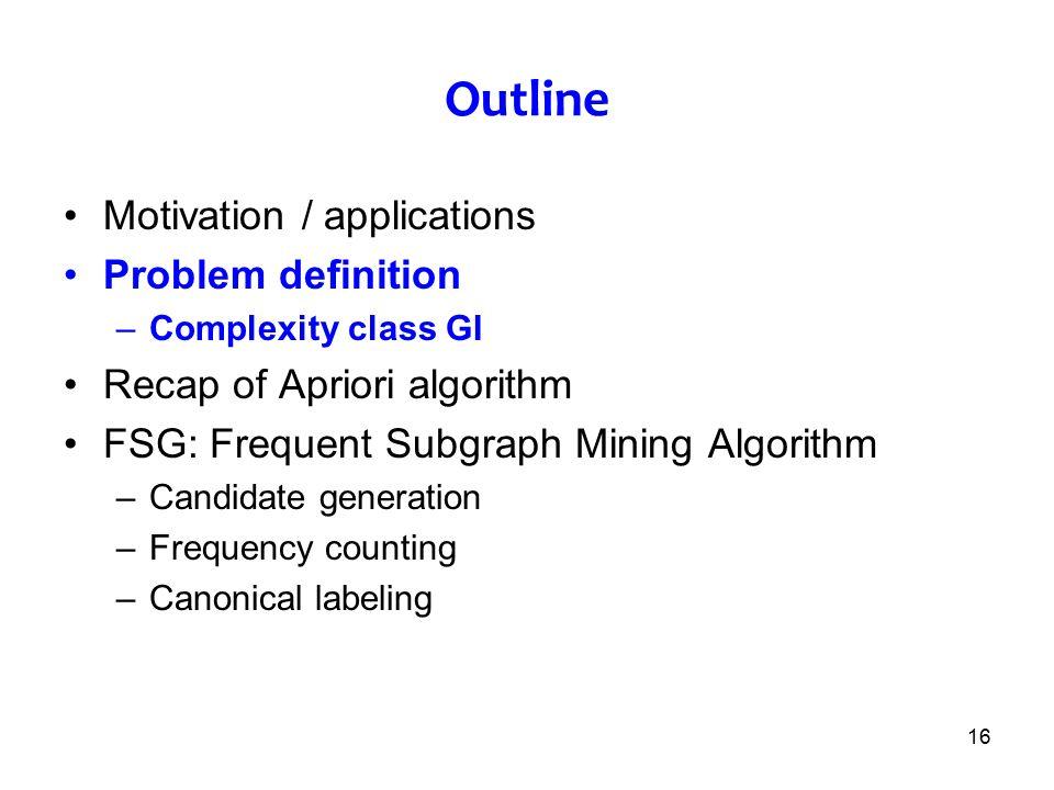 Outline Motivation / applications Problem definition