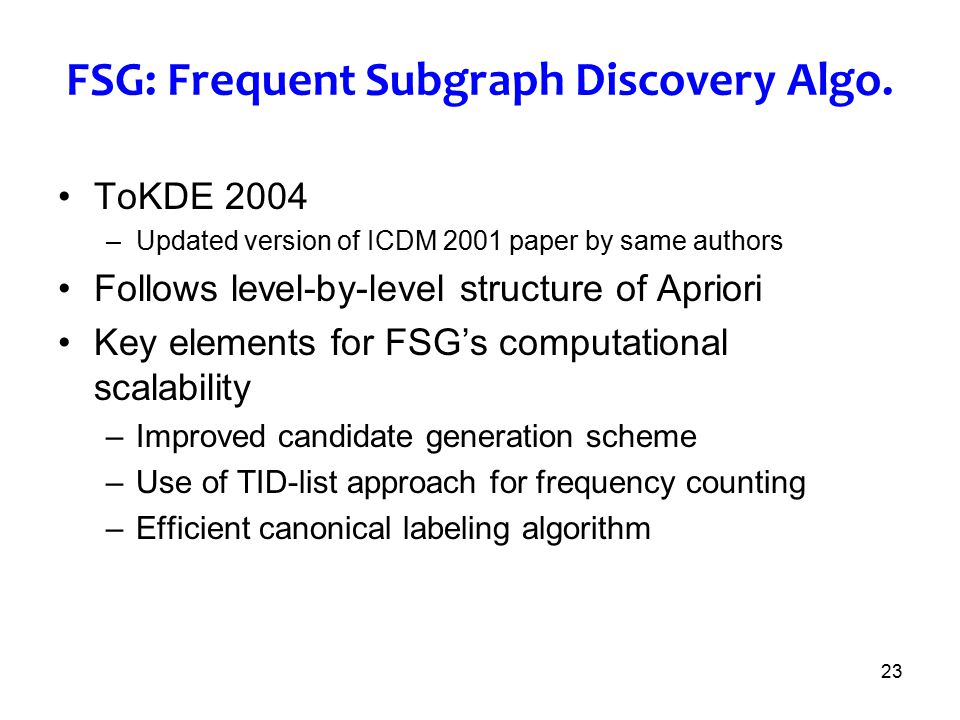 FSG: Frequent Subgraph Discovery Algo.
