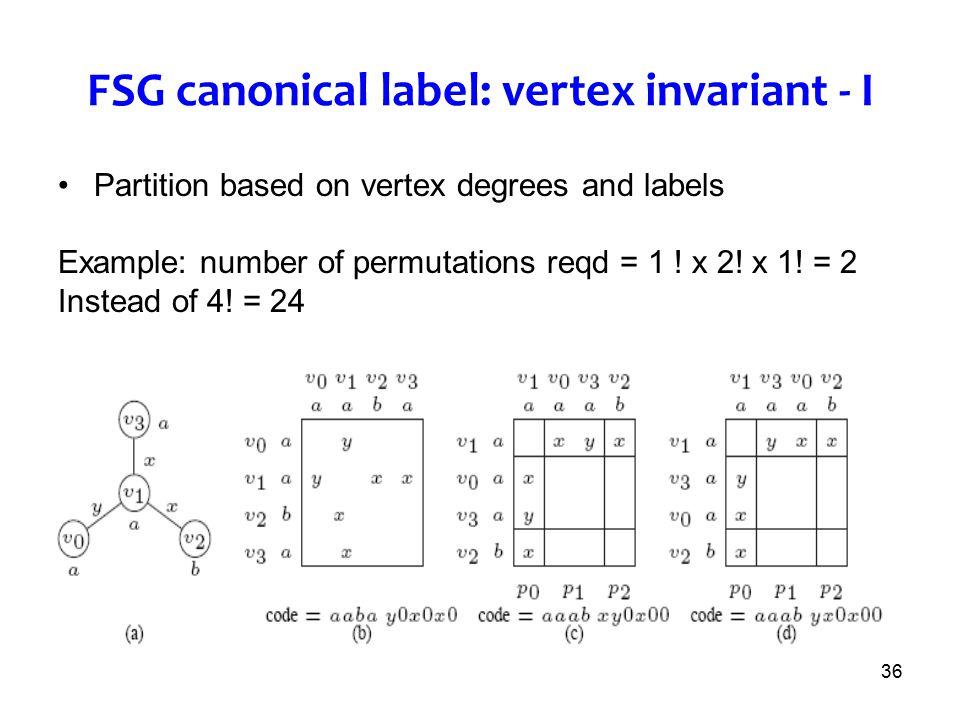 FSG canonical label: vertex invariant - I