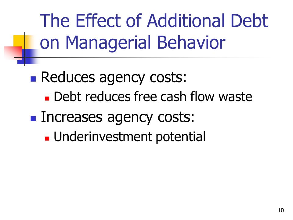 The Effect of Additional Debt on Managerial Behavior
