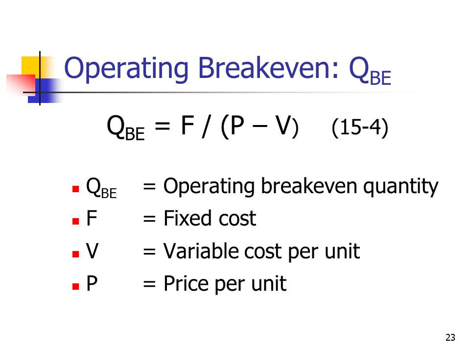 Operating Breakeven: QBE